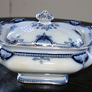 REDUCED 19th century - Small blue & gold serving porcelain dish by Hamilton