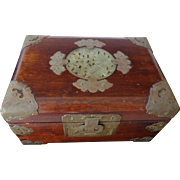 REDUCED Chinese rosewood and brass jewelry box with jade medallion