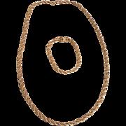 Sterling and 14K gold necklace and bracelet set
