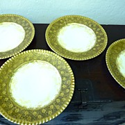 REDUCED Set of 4 gold plates from T&V Limoges