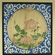 REDUCED Late 19th century Japanese floral wood panel