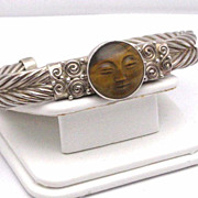 REDUCED Marianna Sajen Tiger Eye and Sterling cuff bracelet