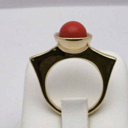 REDUCED Art Deco style 14K gold cabochon ring