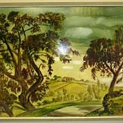 "REDUCED Oil painting from French artist Jean Burkhalter - ""Dordogne"""