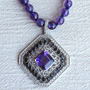 REDUCED Sterling silver, Amethyst, and Diamond necklace