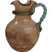 REDUCED Victorian art glass water pitcher
