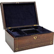 REDUCED English Victorian Rosewood Jewelry Box