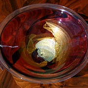 REDUCED Art glass bowl signed Roger Nachan 1986