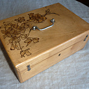REDUCED French lacquered elm wood box with wood burning work on top