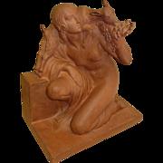 REDUCED 1930 - Art Deco terra cotta sculpture signed Fanny Roset