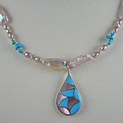 SALE Necklace With Handmade Pink Mussel And Turquoise Native American Pendant And Matching ...