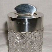 SALE Cut Glass and Sterling Silver Dresser Jar – 1890
