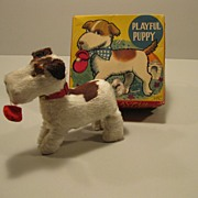 """Wind-up Toy Dog """"Playful Puppy"""" In Original Box By Alps"""