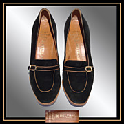 Vintage 1970s Natale Ferrario Shoes // Beltrami Florence Italy Black Suede Ladies Size 7 1/2