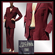 SALE Vintage 90s Jean-Paul Gaultier Suit - Maroon Jacket & Pants - 8 M