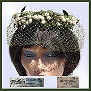 Vintage 50s Mr John Hat // Demi Chapeau 1950s Whimsy White Berries & Green Netting Abercrombie