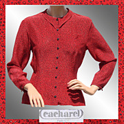 SALE Vintage 1970s Cacharel Red Silk Blouse