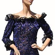 Vintage 80s Yves Saint Laurent Dress // St Laurent Rive Gauche Paris Blue Sequin Lace Ladies S