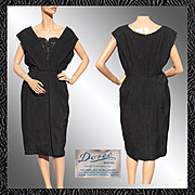 Vintage 50s Black Silk Brocade Cocktail Dress // 1950s Doree Leventhal England Bombshell Ladie