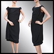Vintage 1960s Black Crepe Dress with Drape Feature - Large