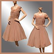 SALE Vintage 1950s Brown Chiffon Party Dress - M