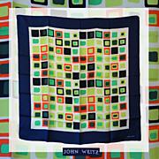 SALE Vintage 1960s Color Block Silk Scarf - John Weitz