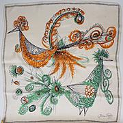 Vintage 50s Jean Patou Silk Scarf // 1950s Designer Birds of Paradise Illustrations
