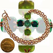Vintage 80s Dominique Aurientis Pendant Necklace // 1980s Cross Green Poured Glass with Gold T