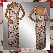 Vintage 60s Linen Dress Floral Print Full Length Ladies Size L 12