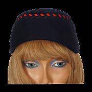 Vintage 40s Henry Pollak New York Felt Hat // 1940s Blue Felt w Red & Blue Ribbon ...