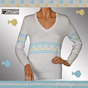 Vintage 1970s Courreges Paris Fish Pattern Sweater Size S