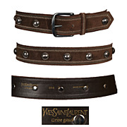 Vintage Yves Saint Laurent Brown Suede Belt // Rive Gauche Metal Studs & Stitching Made in Fra