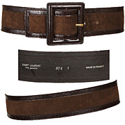 Vintage Yves Saint Laurent Rive Gauche Belt // Brown Suede Made in France Size S
