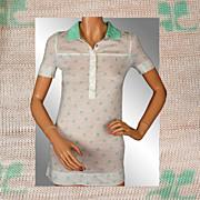 Vintage 70s Courreges Green Logo Polo Top // 1970s Light Mint Acrylic Shirt Blouse Ladies Size