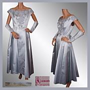 Vintage 50s Blue Ball Gown Silk Formal Dress w Floral Lace Applique Ladies Size M