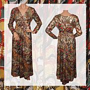 Vintage 60s Dress Gold Lamé Mod Print Vintage Gown Ladies Size Medium 9 / 10
