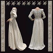 Vintage 1940s Brocade Satin Wedding Gown