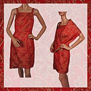 Vintage 60s Dress Christmas Party Cocktail Style Red & Gold w Shoulder Wrap Ladies Size S