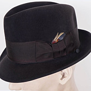 SOLD Vintage Borsalino Pesca Fedora Hat Italy Black Fur Felt Size 7