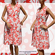Vintage 1960s Coral Pink and White Dress