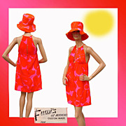 Vintage 60s Hawaiian Mini Dress with Matching Hat - Neon Pink and Orange - S