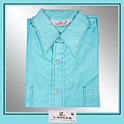 SOLD 1960s Turquoise Shirt Casual Short Sleeved Mens Size M Vintage
