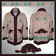 1950s Hand Knit Sweater Mary Maxim Beaver & Maple Leaf Pattern - M / L