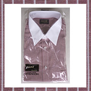 1970s Mens Dress Shirt Maroon with White Stripe NOS Arrow Mach II  Size L 16