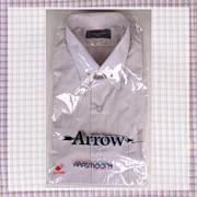 1970s Unused Check Dress Shirt NOS Arrow Long Sleeve Mens Size L 16