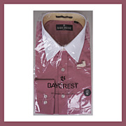 1970s Unused Raspberry Dress Shirt NOS Baycrest Long Sleeve Mens Size L 16