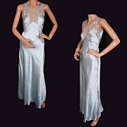 SOLD 1930s Silk Nightgown Ice Blue Embroidered Nightie Never Worn