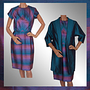 1960s Radiant Orchid Color Block Striped Silk Dress with Long Jacket Sharkskin Silk Size S ...
