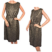 "Vintage 60s Bombshell Dress in Gold Brocade Size Large w 29"" waist"