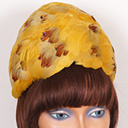 Vintage 1960s Beehive Gold Feather Hat